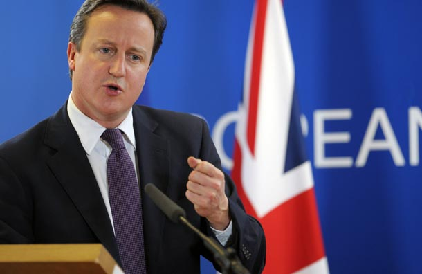 David Cameron speaks to the press after a European Council meeting in Brussels (Photo: Guardian)